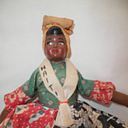 SALE Haitian Cloth Body Doll, Hand-Painted Face circa 1940s