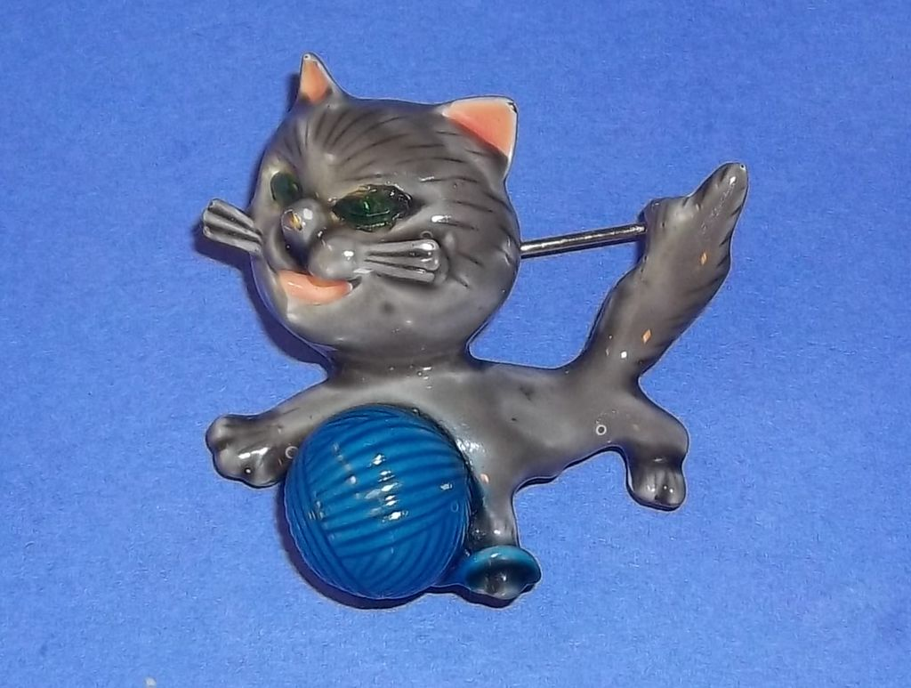 Vintage Signed 50's HAR Har Rhinestone Enameled Pussy Cat Pin Brooch Estate