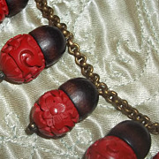 Amazing Art Deco Era Antique Vintage Carved Cinnabar Acorn Wood Organic Necklace
