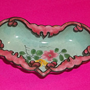 Antique China Chinese Export  Enamel  Cloisonne Bowl Vanity Good Luck Bats Pink Heart Shape Es