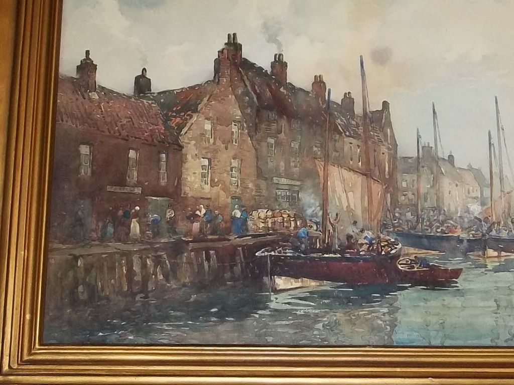 Antique Painting Water Color John Aitken Scotland Herring Boats Listed Artist