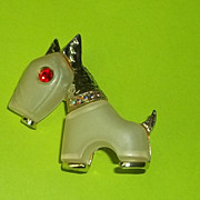 Scarce Vintage Hattie Carnegie Primitives on Parade Lucite Rhinestone Dog Pin Brooch