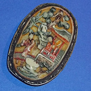Old  Vintage China Chinese Carved Hand painted Pin Brooch Fur clip Geisha Bone