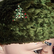 Vintage Claude Saint-Cyr Style Christmas Tree Hat with Brooch Pin Adaptation