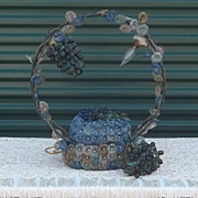 Rare Very Very Large Antique Czech Glass Lamp Basket Form Large Grape Motif  Stunning
