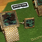 Vintage Mad Men Era Dante Cufflinks Unique Stone Estate