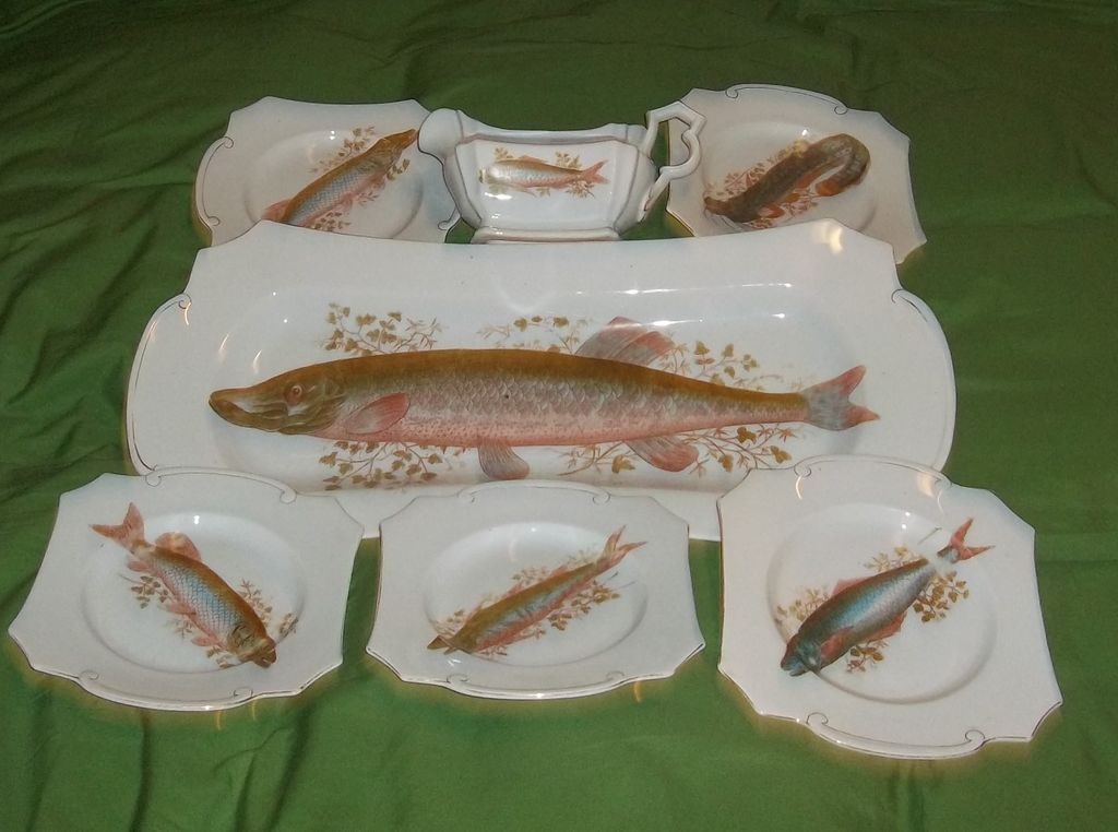 Antique Porcelain Fish Platter Plates Gravy Boat Frieda Austria Victorian