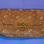 Antique Silk Purse French Silk Malachite Agate Carved Clasp Estate Gorgeous
