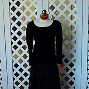 Vintage Rive Gauche Yves St Laurent Black Velvet Opera Night Long Sleeved Two Piece Long Dress
