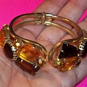 Vintage 50's Unsigned Juliana D&E Rhinestone Clamper Bracelet Estate