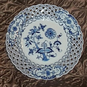 Antique Blue White Onion Reticulated Meissen Plate Estate China Gorgeous #3
