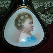 Antique Moser Bohemian Glass Emerald Green Portrait Vase Cameo Face Handpainted  Beautiful Rar