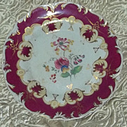 Rare Antique China Plate Hand Painted Flowers Red White Porcelain Opaque 1800's