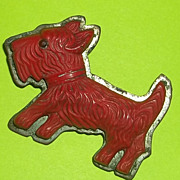 Vintage Deco Galilith French Bakelite Scottie Dog Pin Brooch Red Carved Estate