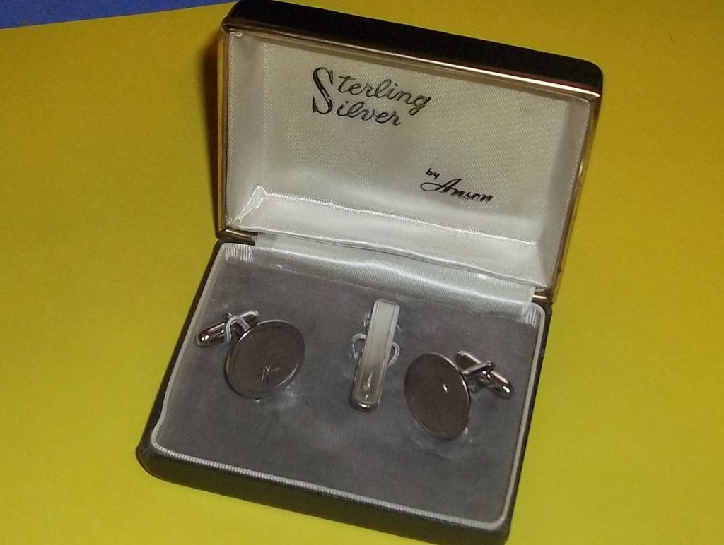 Vintage Sterling Silver Cufflinks and Tie Clasp Original Box Anson Man or Woman Vintage Wedding Beautiful Estate