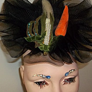 Vintage Fascinator Hat Summer Vegetables Rhinestones Jewels Outrageous and Fun Collector's Est