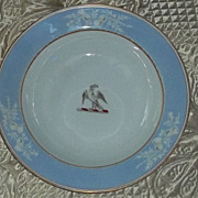 Antique Rare Chamberlains Worcester English Armorial China Bowl Bird Thistle