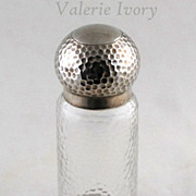 Silver Topped Glass Bottle / Dresser Jar  -  London 1916-17