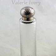 Silver Topped Glass Bottle /Dresser Jar  -  London 1916-17