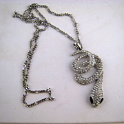 Large Sparkly Rhinestone Snake Pendant with Chain