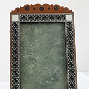 SALE Anglo Indian Sadeli Mosaic & Sandalwood Photo Frame.  C 1880