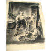 Antique Folk Art Primitive Boy & Cat Farm Barn Charcoal Drawing Art