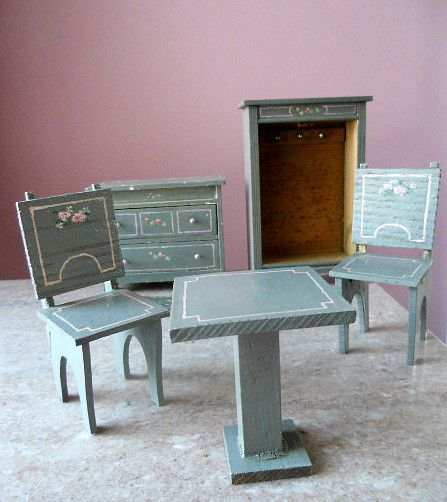 20s Chiffarobe Bedroom Dollhouse Miniature Painted Wood Furniture