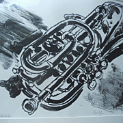 OLIVER BALF Lithograph Alto Base Horn JAZZ Instrument ART