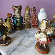8 Antique Alice in Wonderland English Composition Chalk Figurines
