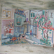 40s Claude Rodewald Paris Cafe Impressionistic Diorama Painting
