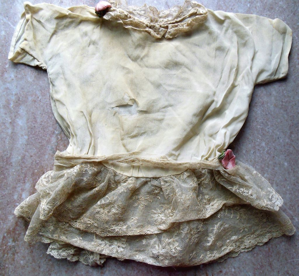 Antique Lace Pink Rosette Silk Chiffon French Jumeau Doll Dress