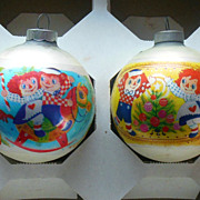 2 Vintage 1974 Raggedy Ann Andy Bobbs Merrill Christmas Bulbs