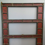 19C Chinese Lacquer Bronze Scroll or Painting Furniture Screen