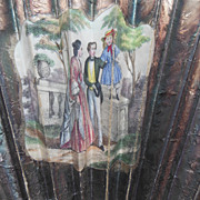 Antique 1840 Hand Colored Mirror Opera Fan Family Garden Scene