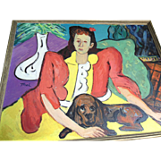 Modern Art Picasso Style Sam Thal  Woman & Basset Hound