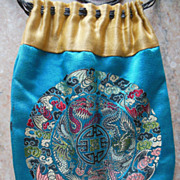 Antique CHINESE Blue Gold Silk Embroidered Purse Satchel Textile