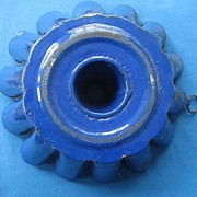 Antique Cobalt Blue Enamelware Kitchen Bundt Pan