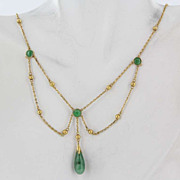 Vintage 18K Yellow Gold Green Jade Festoon Drape Necklace Fine Jewelry