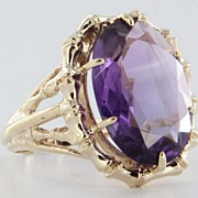 Vintage Estate Amethyst 14 Karat Yellow Gold Cocktail Ring Fine Statement Heirloom Jewelry