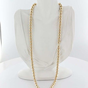 Estate 14K Yellow Gold Ball Bead Necklace fine Jewelry