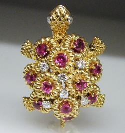 Vintage 14K Gold Ruby Diamond Turtle Tortoise Brooch Pin