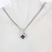 Estate 14K White Gold Blue Sapphire Diamond Pendant Necklace Fine Jewelry