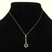 Estate 18K White Gold Emerald Diamond Drop Pendant Necklace Elegant Fine Jewelry
