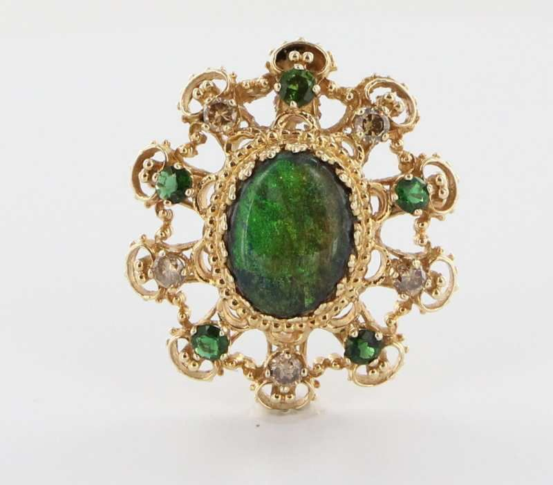 Estate 14K Yellow Gold Matrix Opal Diamond Tsavorite Garnet Brooch Pin Pendant