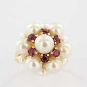 Vintage 14K Gold Cultured Pearl Ruby Cocktail Cluster Ring Fine Jewelry