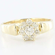 Estate 14K Yellow Gold Diamond Flower Cluster Ring