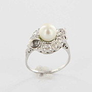 Art Deco 14K White Gold Cultured Pearl Diamond Cocktail Engagement Ring