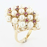 Antique Victorian 14K Yellow Gold Ruby Cultured Pearl Cocktail Ring