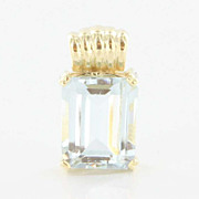 Estate Petite 14K Yellow Gold Aquamarine Pendant Fine Jewelry
