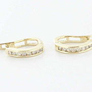 Estate Yellow Gold Small Oval Diamond Hoop Earrings Fine Jewelry